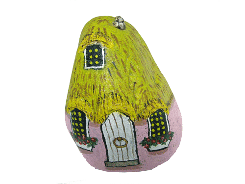 Hand Painted Rocks | Pink Painted Rock Garden Decor Gnome Home ...