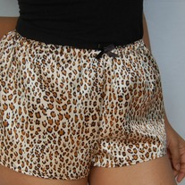 NEW Satin Sleep Shorts- Cheetah