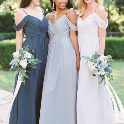 a3f6cd78f946 Elegant chiffon long off shoulder bridesmaid dresses,spaghetti straps  chiffon full length bridesmaid dresses