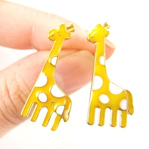 Large Polka Dotted Giraffe Animal Stud Earrings in Yellow and White