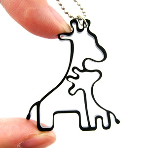 Simple Giraffe Mother and Baby Animal Charm Outline Necklace in Black