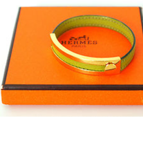HERMES Bracelet Authentic HERMES 'Pousse Pousse' Bangle Bracelet Lime Green Leather x Goldtone