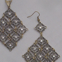 Burnished Gold and Crystal Necklace & Earrings Set