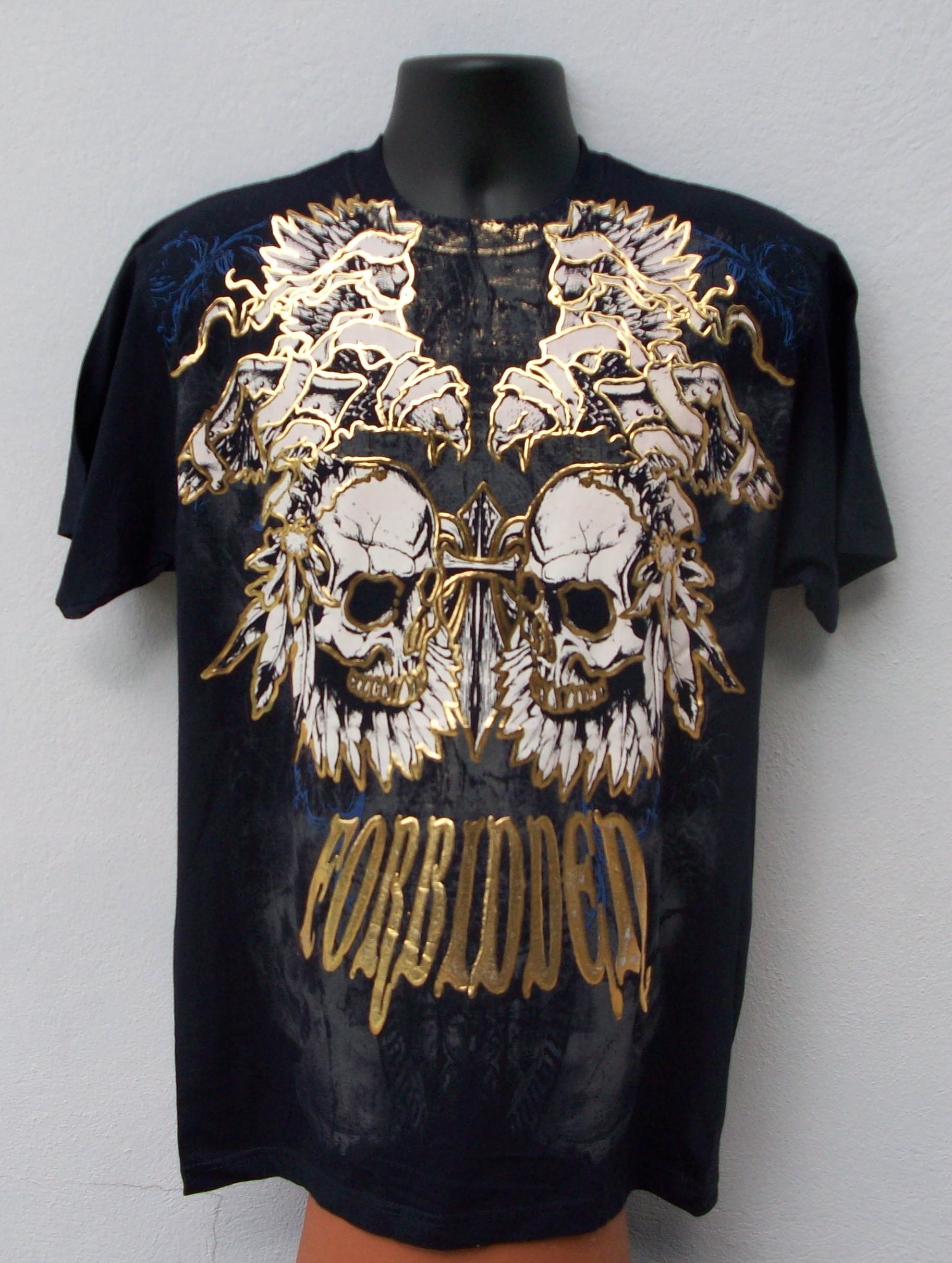 Forbidden Navy Gold Foil T Shirt From Visible Scars