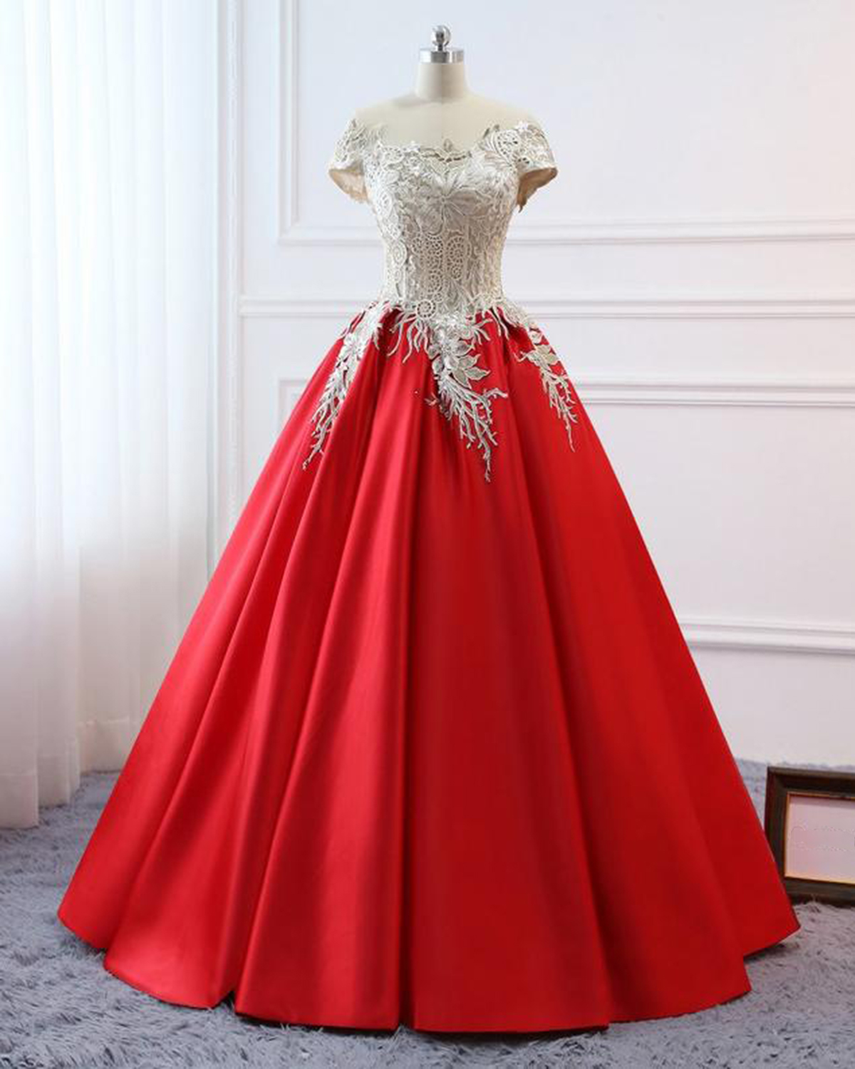 Red Satin Cap Sleeve Plus Size Women Formal Dress, Lace Quinceanera Dress  from Sweetheart Dress