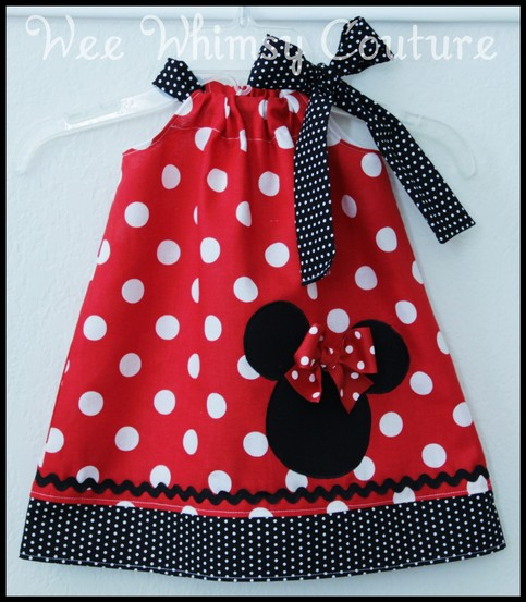 Super Cute Minnie Mouse Applique Dress in Red dot 0-3m - 5t