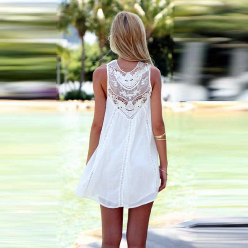 ffda79ae1b0 ... FREE Shipping Tassel Solid White Mini Sleeveless Lace Dress - Thumbnail  2 ...