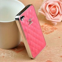 LUXURY BRAND IPHONE 4/4S LEATHER HARD CASE ROSE PINK