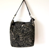 Zippered Hobo - Paisley in Dark Brown Thin Corduroy  - Mother's Day Special - Was $75 Now $60