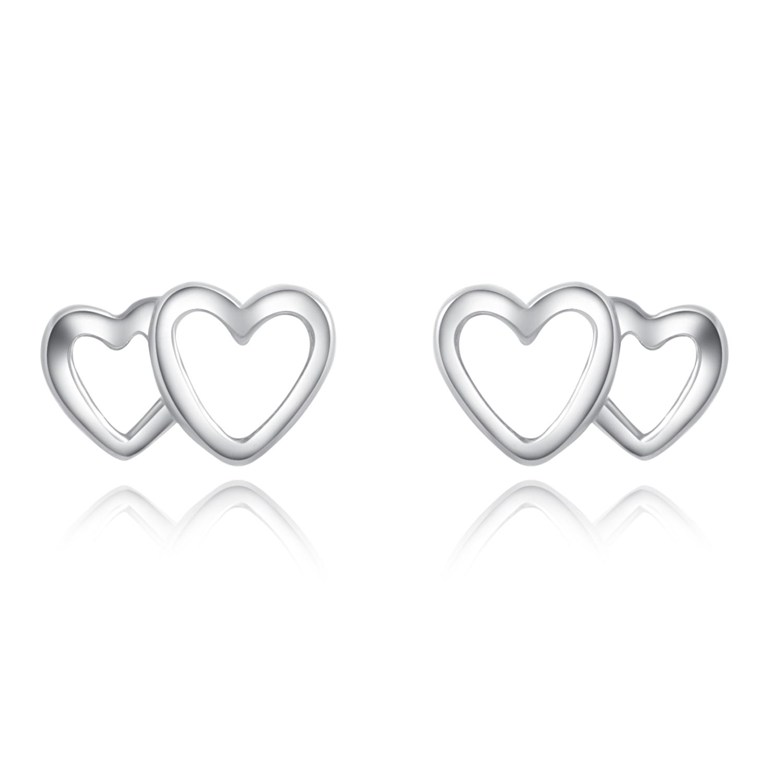 Double Love Edge 925 Sterling Silver Stud Earrings Heart Earrings 7mm