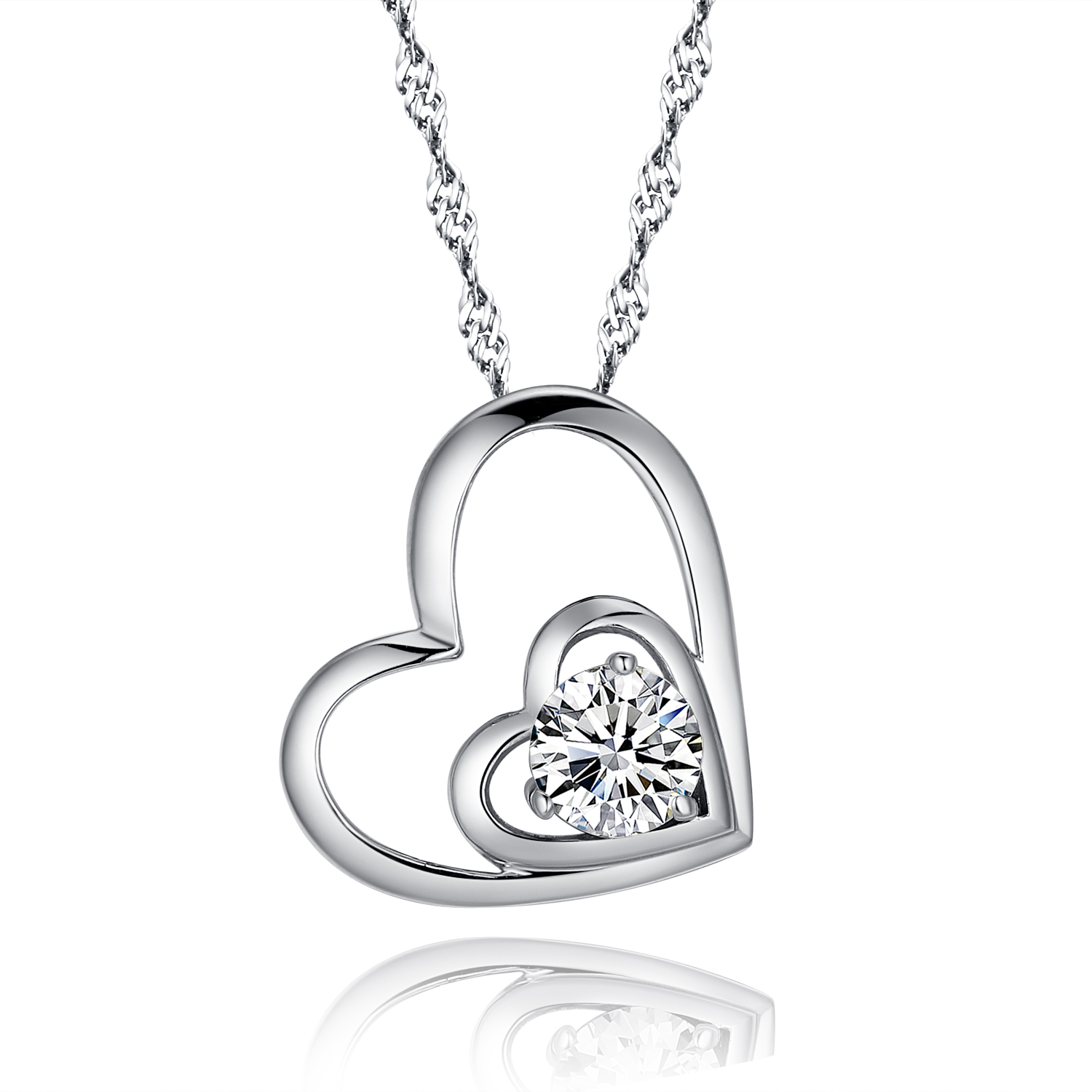 925 sterling silver double love open heart pendant necklace paved 925 sterling silver double love open heart pendant necklace paved cubic zirconia cz and 18 inch aloadofball Gallery