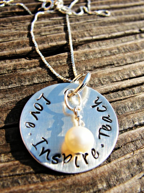 Custom Hand Stamped Sterling Silver Teachers Necklace
