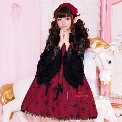 Japanese fashion harajuku kawaii cross pattern lace two piece casual dress lolita dress lk19052805