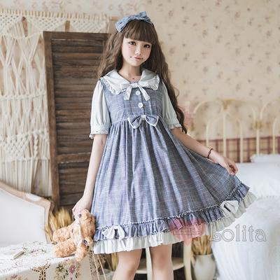 Japanese fashion harajuku kawaii plaid casual short sleeve dress lk190528065
