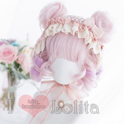 Japanese fashion harajuku kawaii rainbow pink colors short curly wigs daily wigs lk19052813