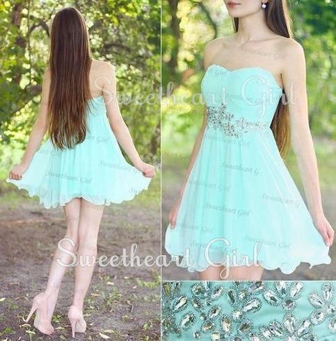 sweetheart girl light blue strapless short prom dress