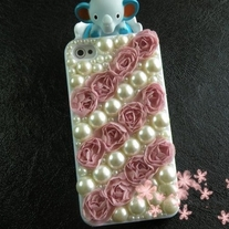Bling Sparkle Crystal Rose Pink Lace Rose W/Pearls iPhone 4/4S Case