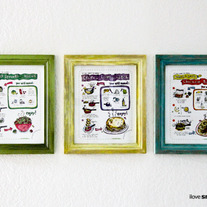 Small Bites Art- Set of THREE Illustrated Recipes, Kitchen Art, 8x10 Prints For Kids, 15% Discount