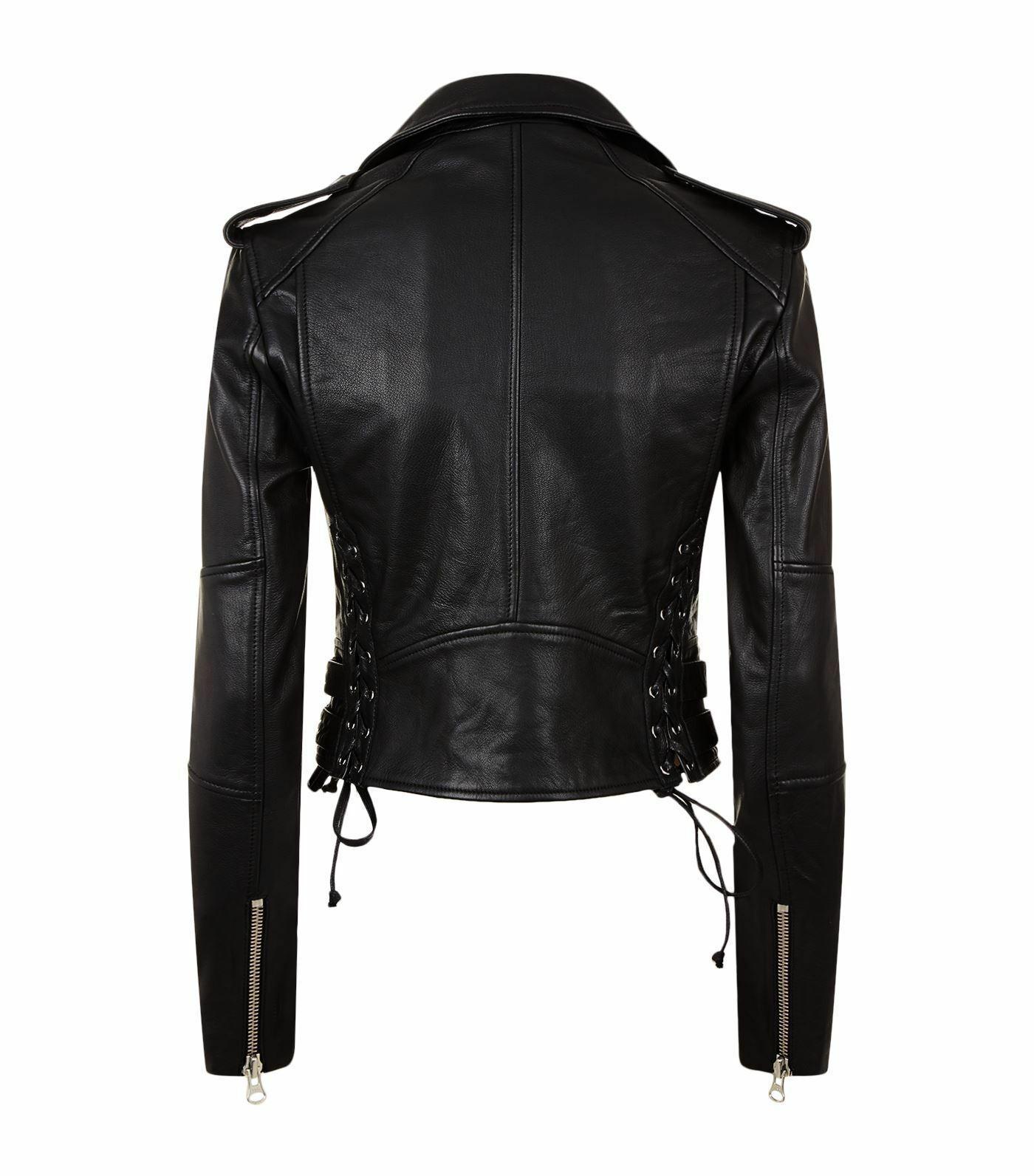 Women/'s Black Moto Style Genuine Leather Motorcycle Slim fit Biker Jacket