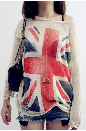 Cute UK Flag Print Pullover Thin Loose Hollow out Top Sweaters ...