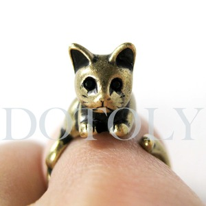 Miniature Kitty Cat Animal Ring in Bronze Sizes 5 to 9 available