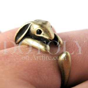 Miniature Bunny Rabbit Ring in Light Bronze Sizes 4 to 9 Available