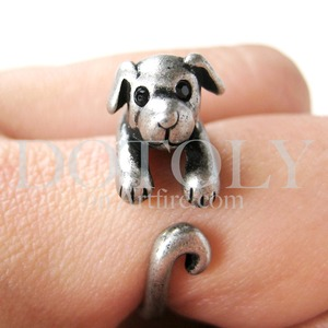 Miniature Puppy Dog Animal Wrap Ring in Silver Sizes 4 to 9 available