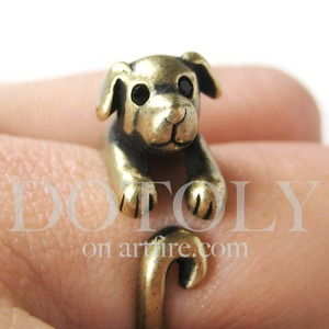 Miniature Puppy Dog Animal Wrap Ring in Bronze Sizes 4 to 9 available