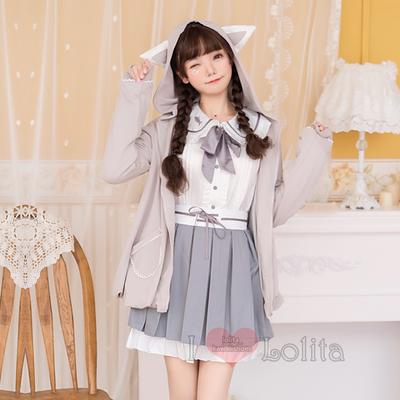 Japanese fashion harajuku kawaii fish embroidery collar long sleeve uniform set lk19091902