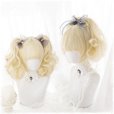 Japanese fashion harajuku cute yellow color short curly wigs daily wigs lk19091906
