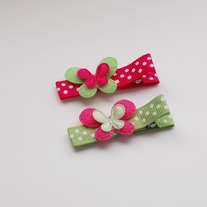Mini butterfly clip, hot pink/green