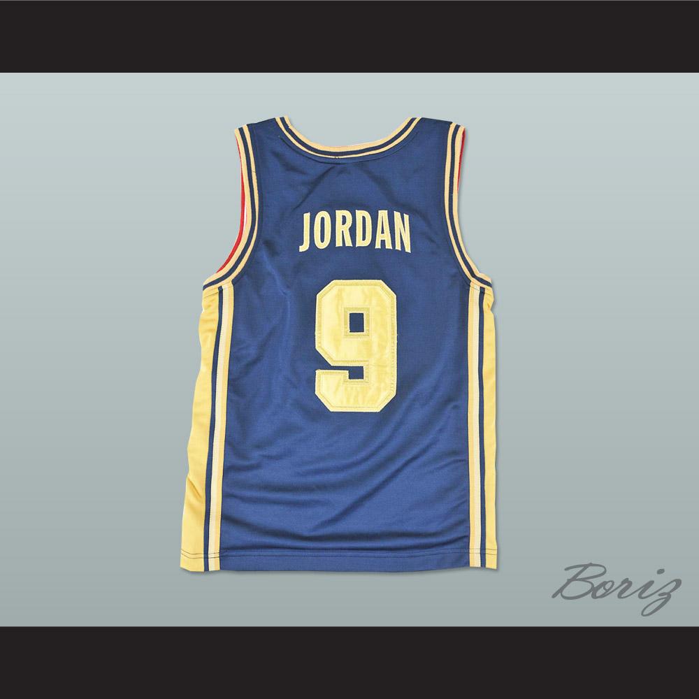 Michael Jordan Dream Team Blue and Gold Basketball Jersey NEW Stitch Sewn ? a...