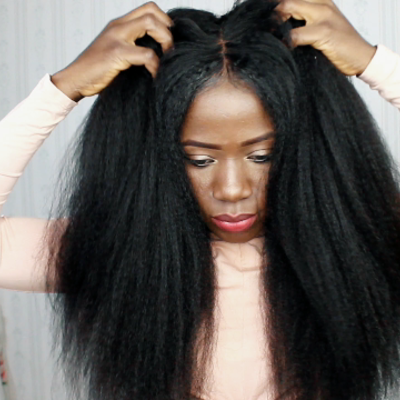 Blow-out glue-less natural looking kinky straight wig (human hair)