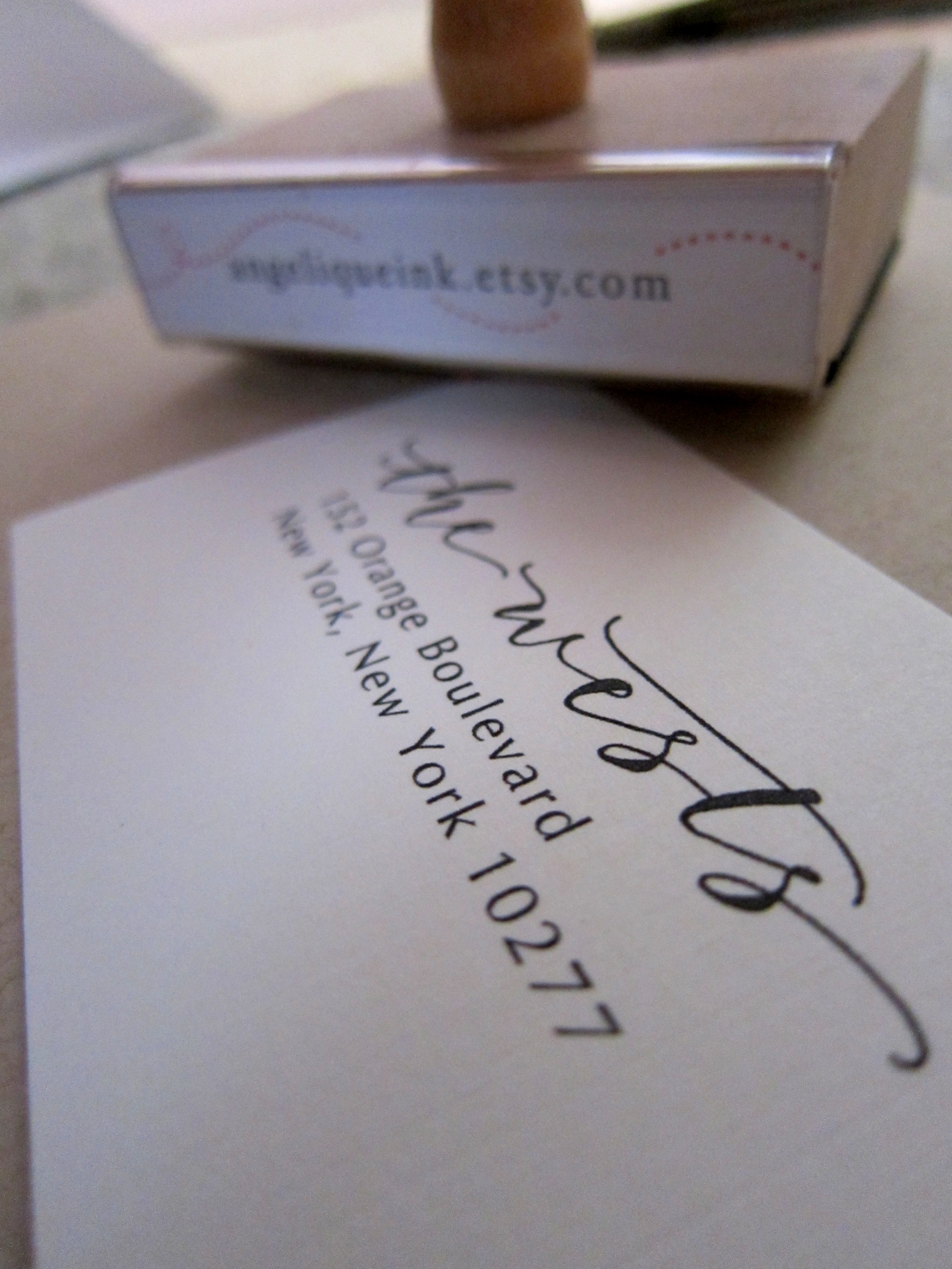 Custom Calligraphy Address Stamp Mixed Calligraphy And