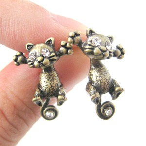 Kitty Cat Shaped Two Part Stud Dangle Earrings in Brass