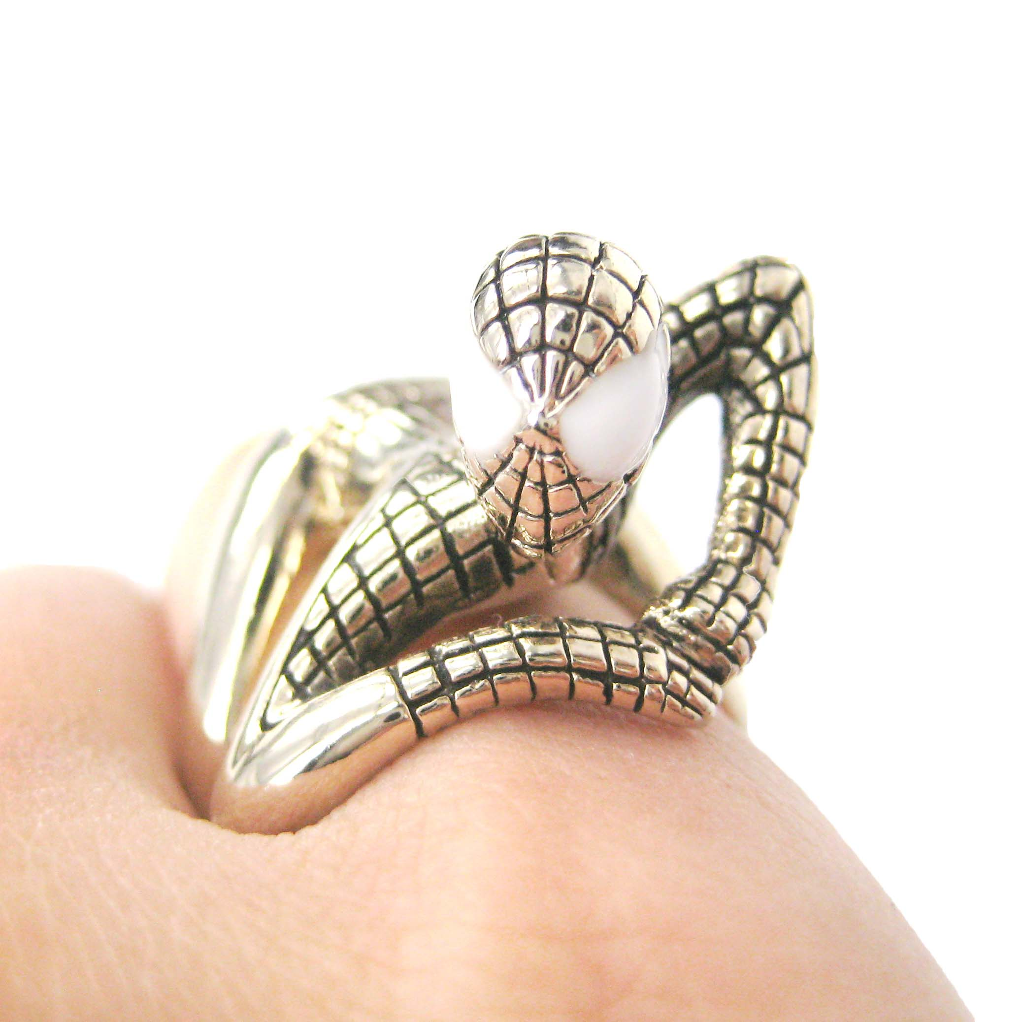 Spiderman Shaped Wrap Around Ring in Shiny Gold US Size 8 and 9