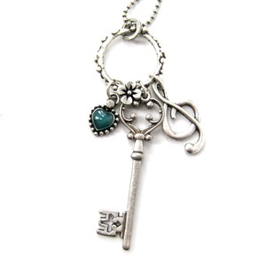 Skeleton Key and Treble Clef Music Themed Necklace in Silver