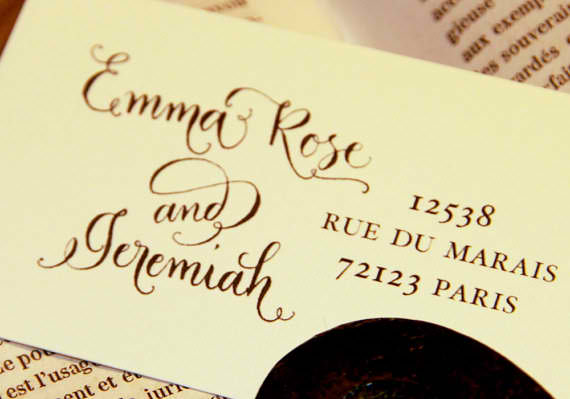 Custom calligraphy address stamp side by side Calligraphy store
