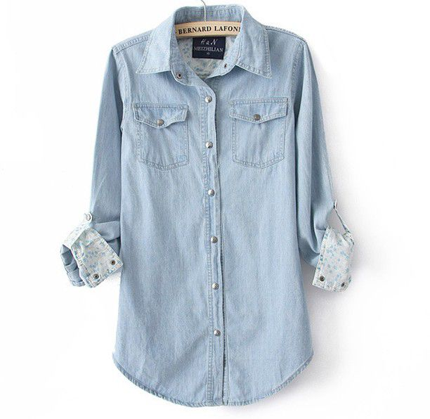 Fashion woman denim lapel long sleeve shirt top tee baceb for Jeans and shirt women