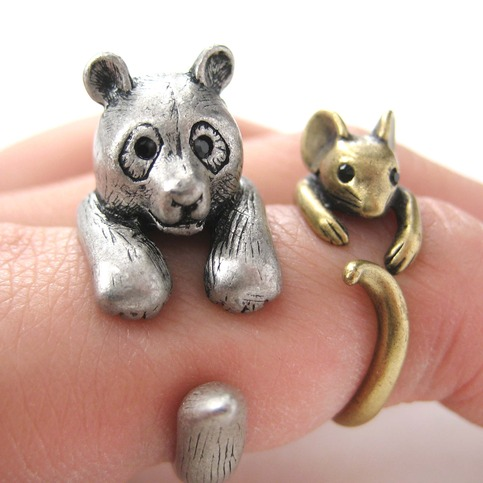 3D Panda Bear Ring in Silver - Sizes 5 to 10 Available