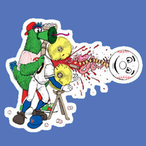 Phillie Phanatic vs. Mr.Met (vinyl sticker)
