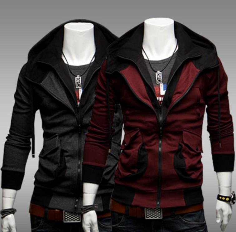 Stylish Color Blocking Design Casual Jacket Coat False Two Pieces ...
