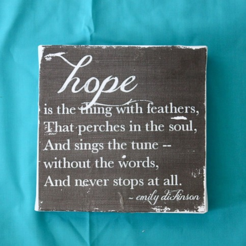 Subway Art Wall Hanging Canvas - Hope is the Thing With Feathers...