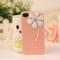 New Bling Crystal White Pearls Daisy Pink iPhone 4/4S Case