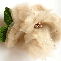 Lovely Flower Taupe Organza Headpiece  - Thumbnail 3