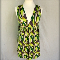 Green and Grey Graphic French Connection Dress