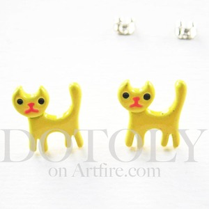Small Small Cat Earrings in Yellow
