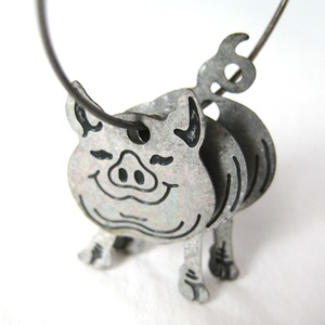 3d Baby Piglet Pig Animal Hoop Dangle Earrings in Silver