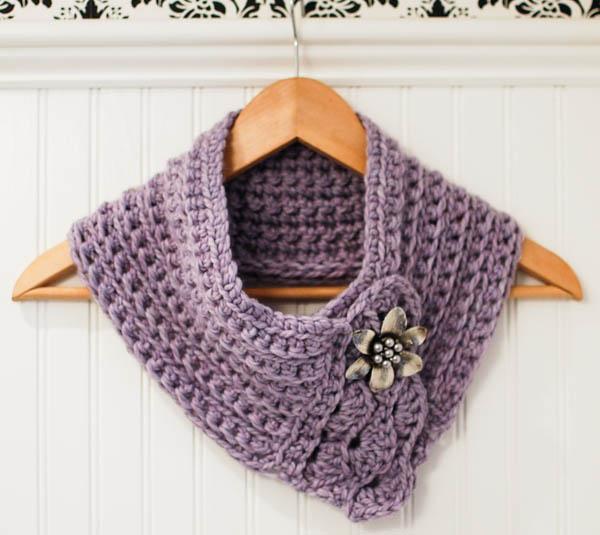 Crochet Pattern Pretty Cowl Scarf Scarflette Petals To