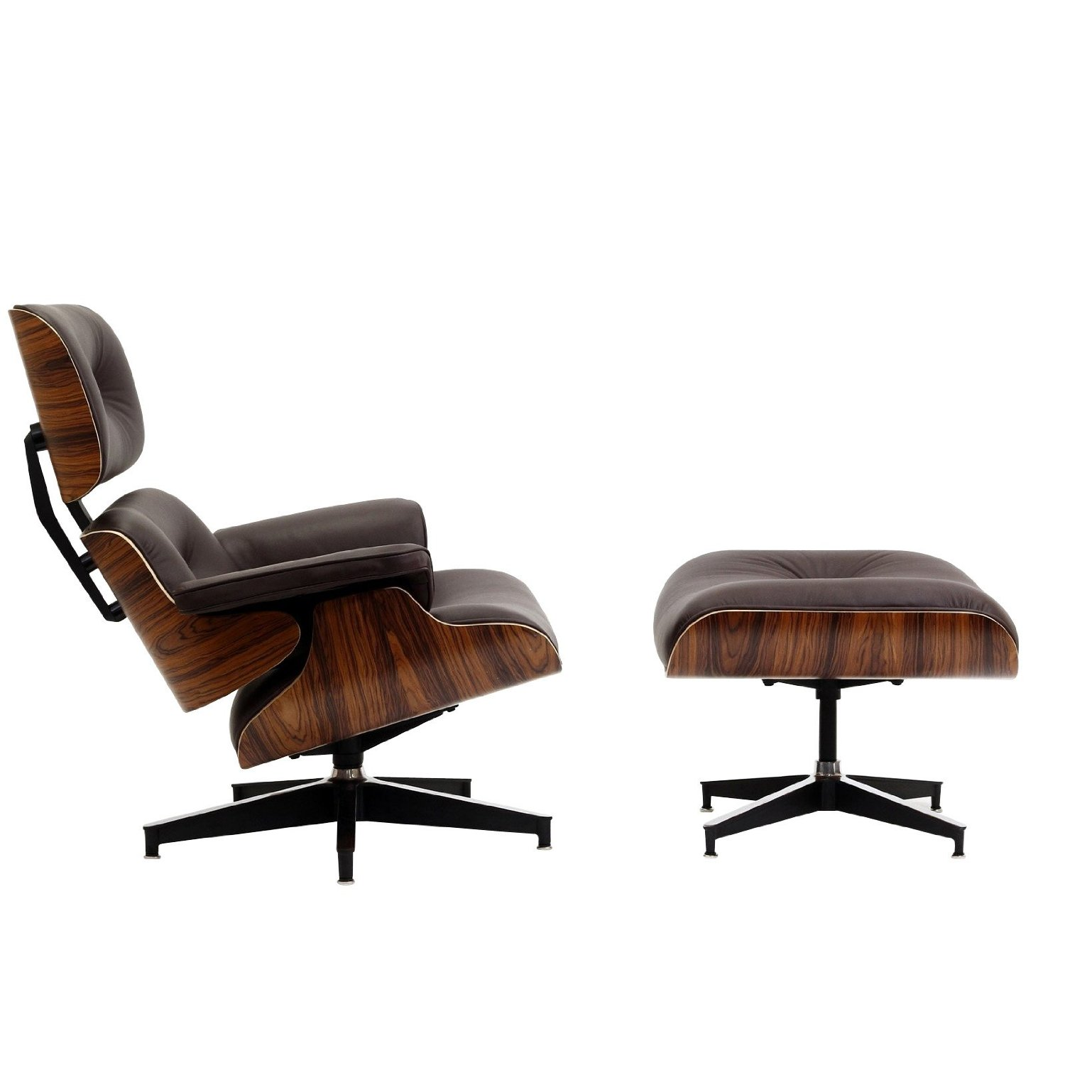 Eames Lounge Chair And Ottoman Palisander Wood Italian Leather Cross Grai